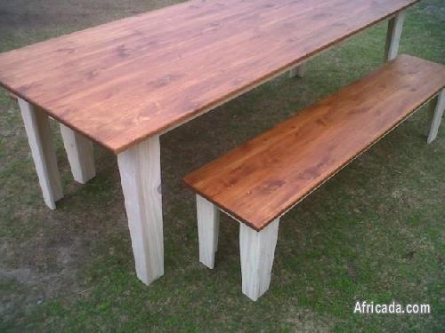Picture of FARMHOUSE WOODEN TABLE AND BENCHES FROM R2500